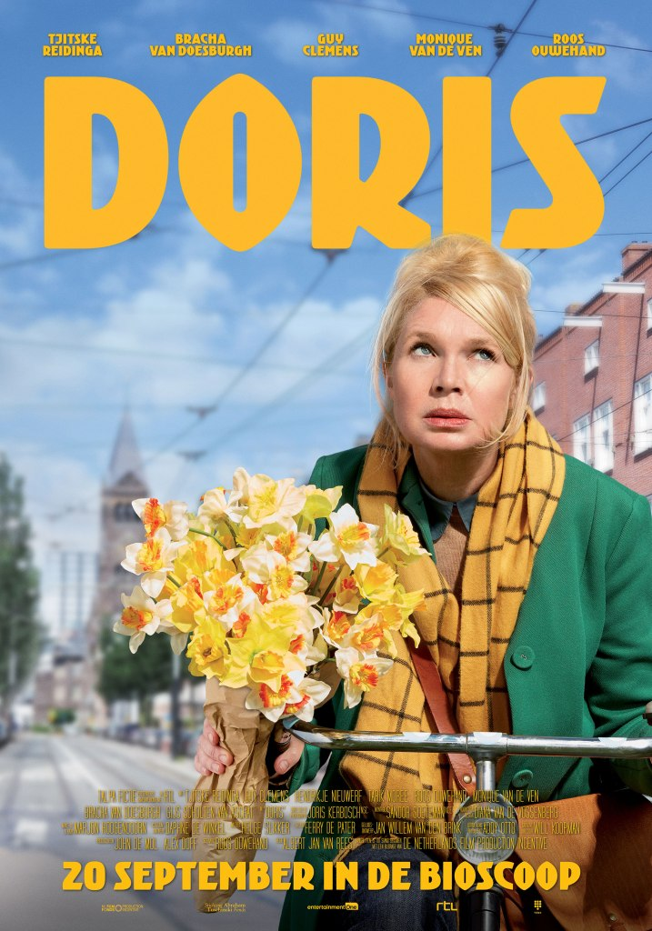 The film poster showing Doris (Tjitske Reidinga) on a bicycle with a bunch of flowers.
