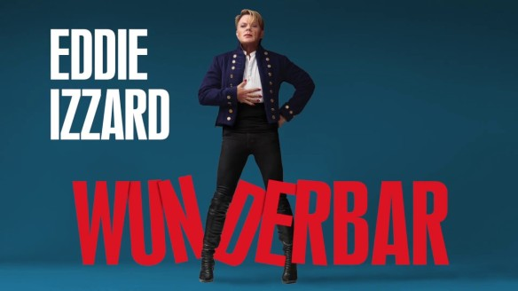 """The tour poster showing Eddie Izzard standing over the word """"Wunderbar"""", her hand on her belly."""