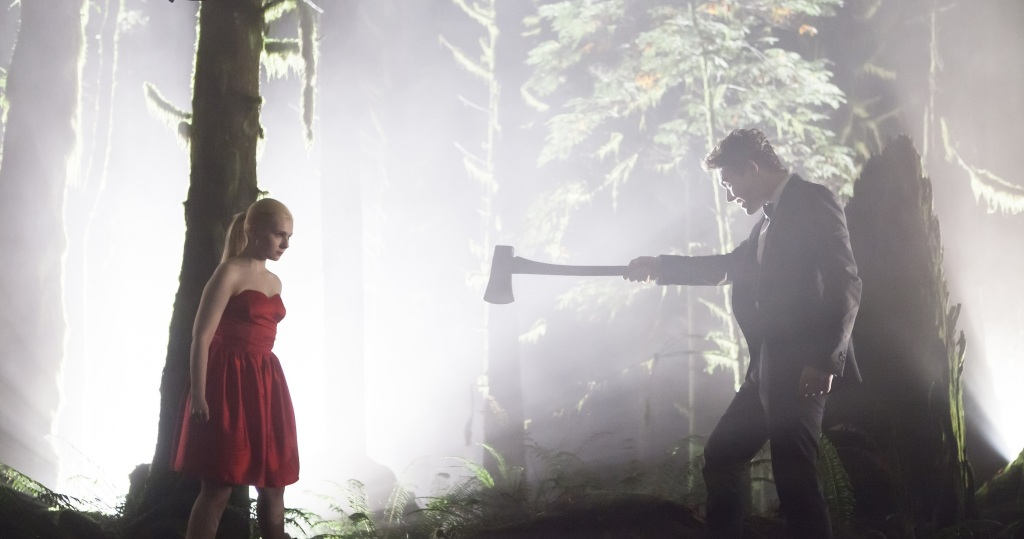 Veronica (Abigal Breslin) facing Jameson (Alexander Ludwig) who is pointing an axe at her.