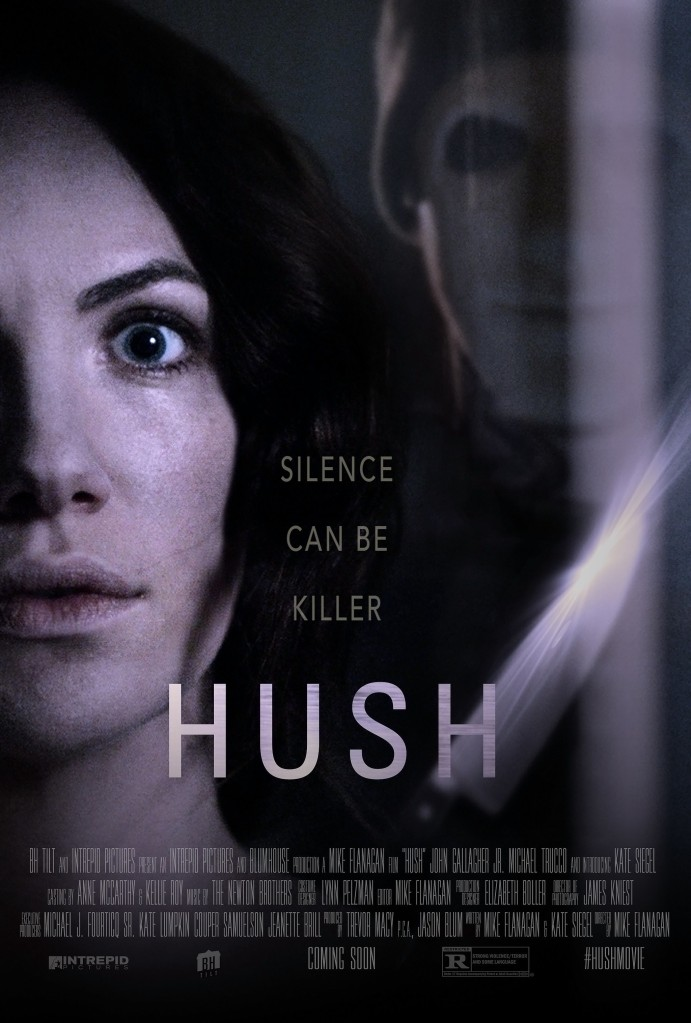 The film poster showing Maddie (Kate Siegel) with scared eyes, behind her a masked man (John Gallagher Jr.). A knofe is glinting between them.