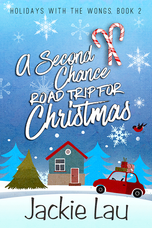 The book cover showing a car with presents on the roof in front of a house with a pine tree next to it.