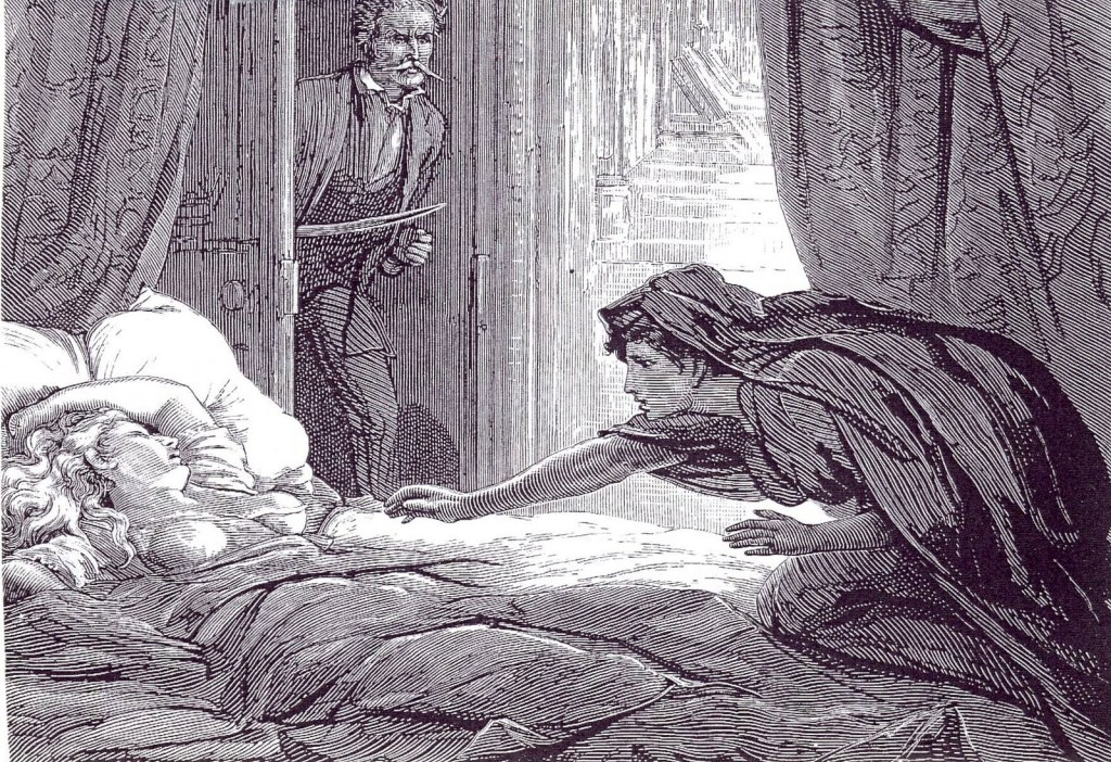 An etching of a hooded woman leaning over a half-naked sleeping woman, reaching for her as a man enters the room with a sword in hand.