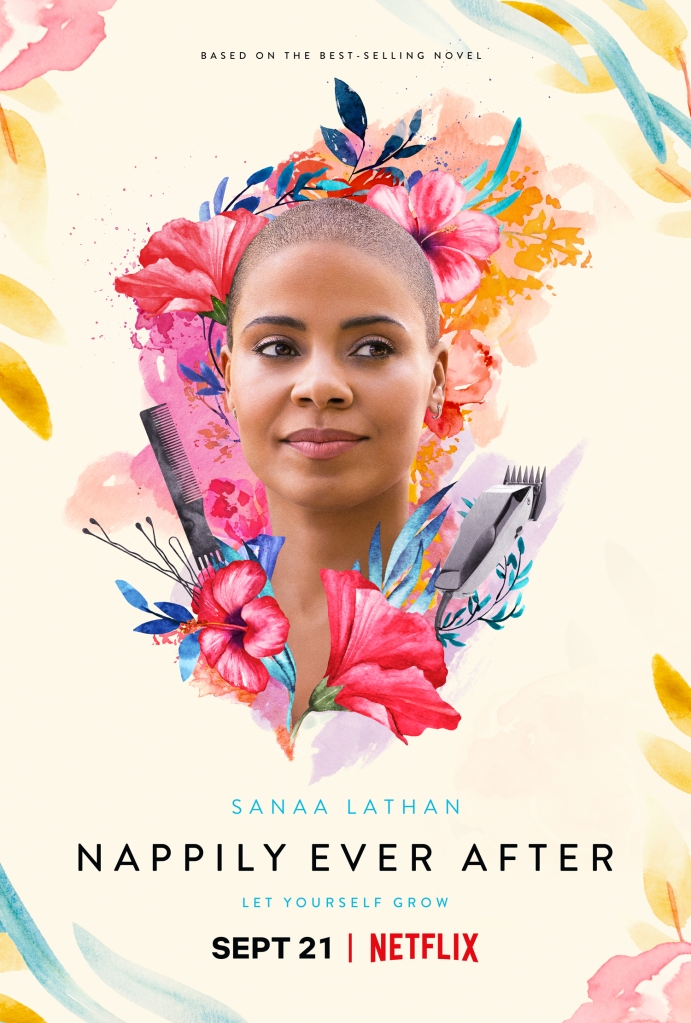 The film poster showing Violet (Sanaa Lathan) with a shaved heads, painted flowers around her.