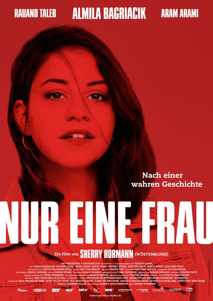 The film poster showing Aynur (Almila Bagriacik) in red and black.