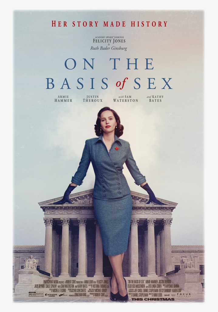 The film poster showing a giant Ruth Bader Ginsburg (Felictiy Jones) leaning against the supreme court building.