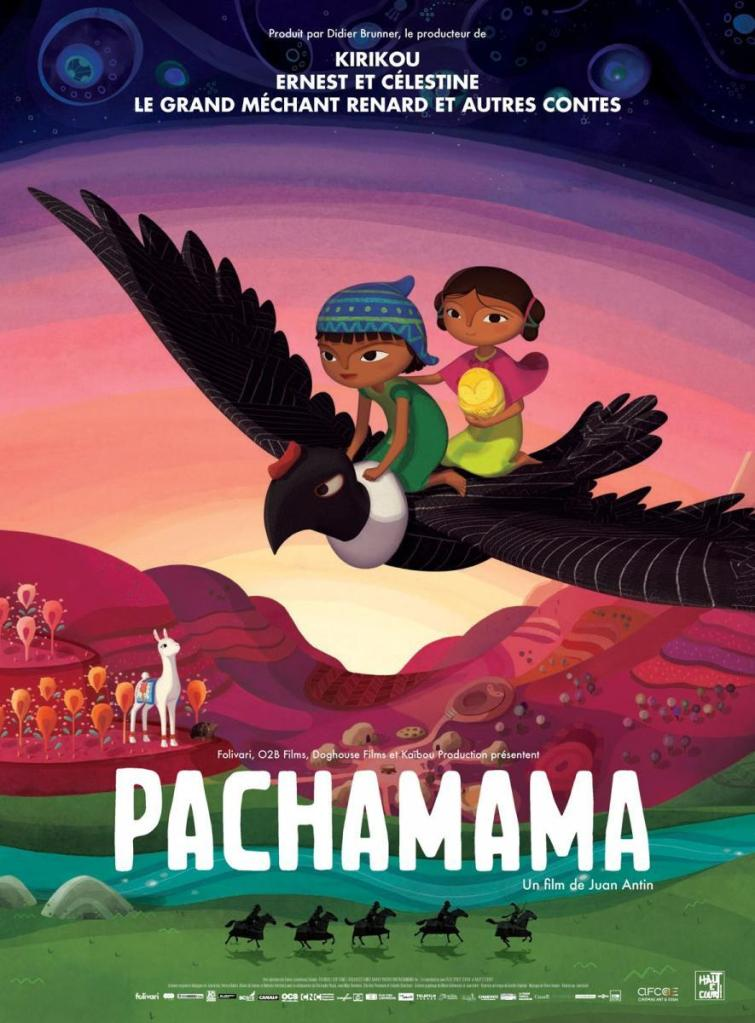 The film poster showing Tepulpai and Naira flying on a big Condor bird. Lamita is watching them from the ground.