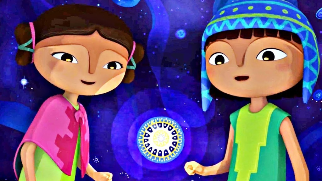 Naira and Tepulpai looking at a firefly.