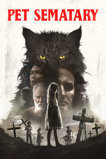 The film poster showing a drawing of a cat. In the cat shape we can see the faces of the main characters. Below them are several cemetery crosses and children.