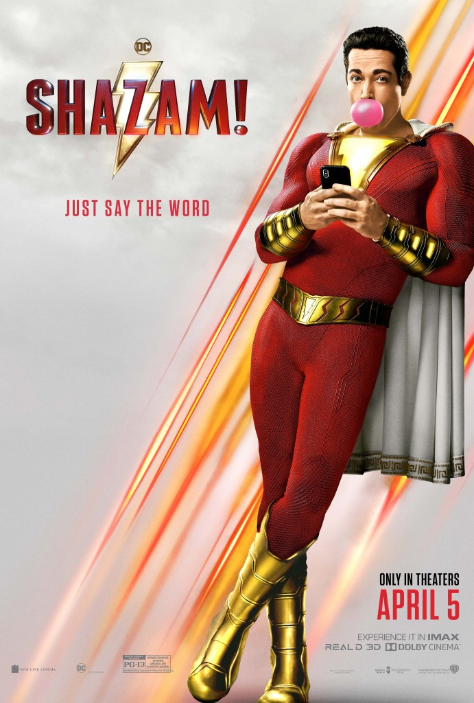 The film poster showing Shazam (Zachary Levi) leaning against a wall, phone in hand, popping a pink gum bubble.