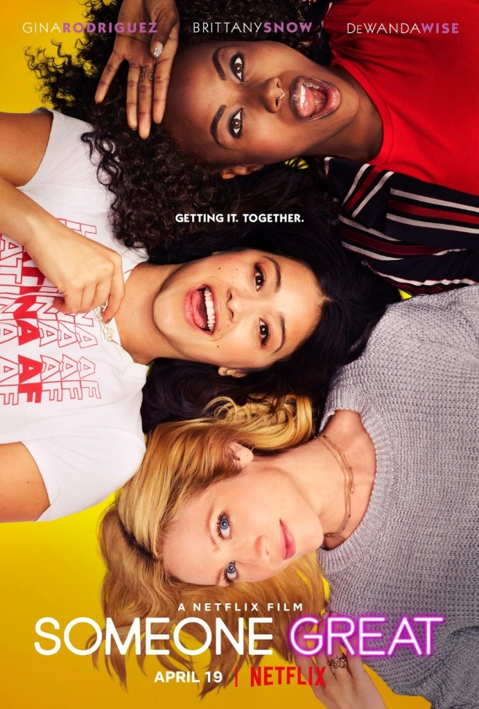 The film poster showing Jenny (Gina Rodriguez), Erin (DeWanda Wise) and Blair (Brittany Snow) lying down with their heads close together.