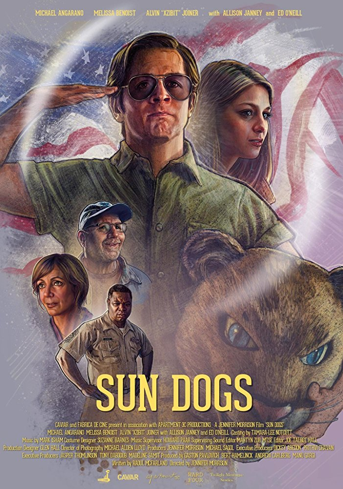 The film poster showing the film's main characters. Front and center Ned (Michael Angarano), saluting while clutching a mascot head.