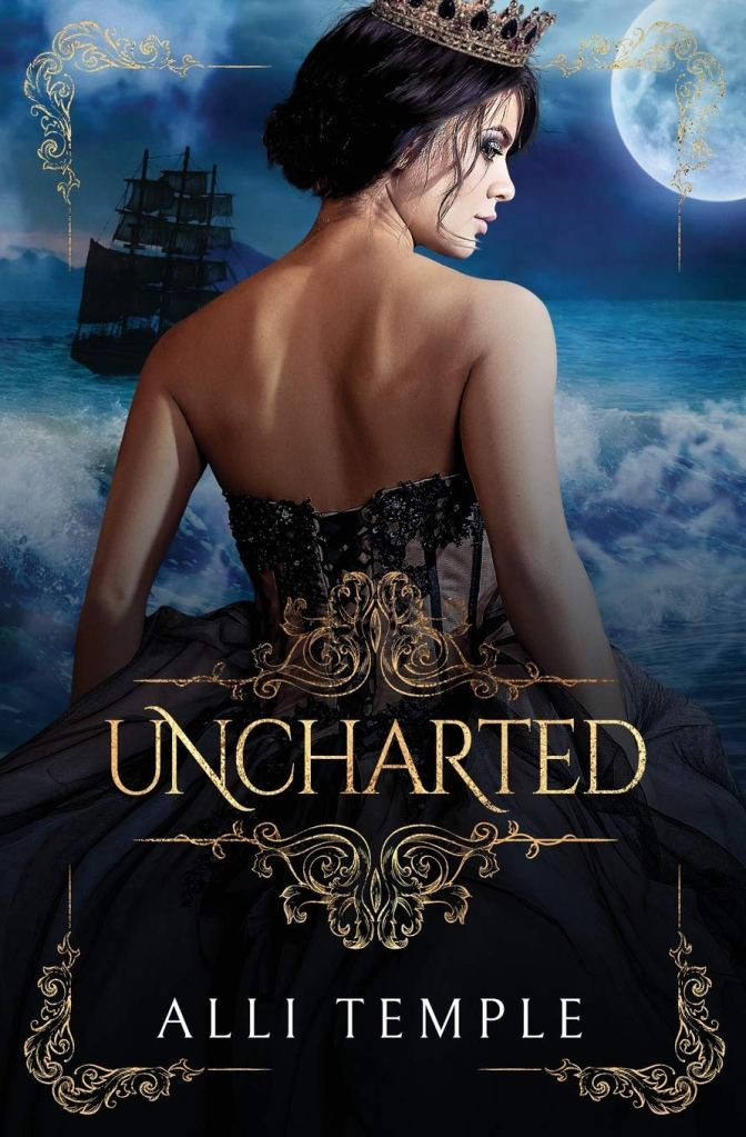 The book cover showing a dark-haired woman with a crown and ball gown, her back towards the camera. Behind her we can see a big sailboat and the sea.