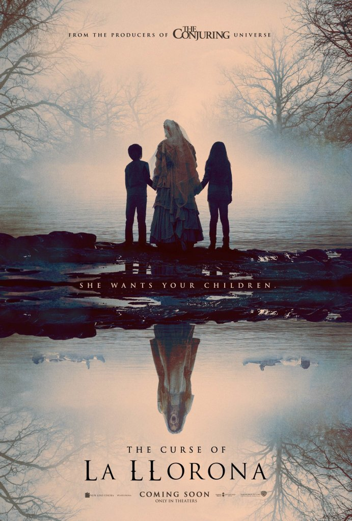 The film poster showing La llorona (Marisol Ramirez) holdin hands with two children at the edge of the lake. Reflected in the lake we can see her screaming and the children floating next to her.