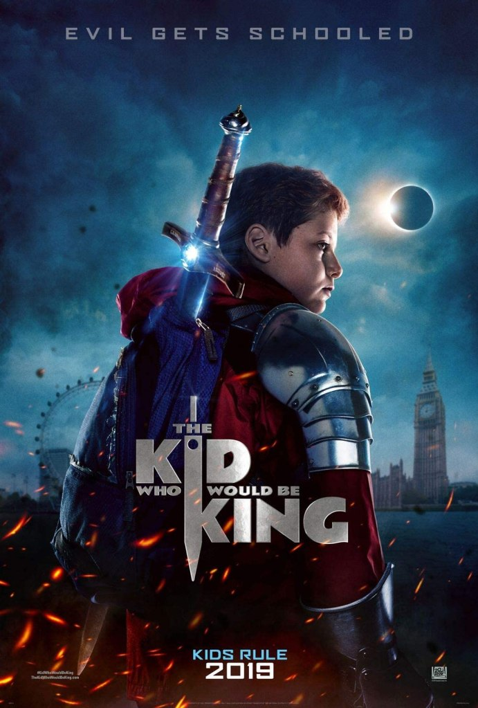 The film poster showing Alex (Louis Ashbourne Serkis) in armor, with a big sword strapped to his back.