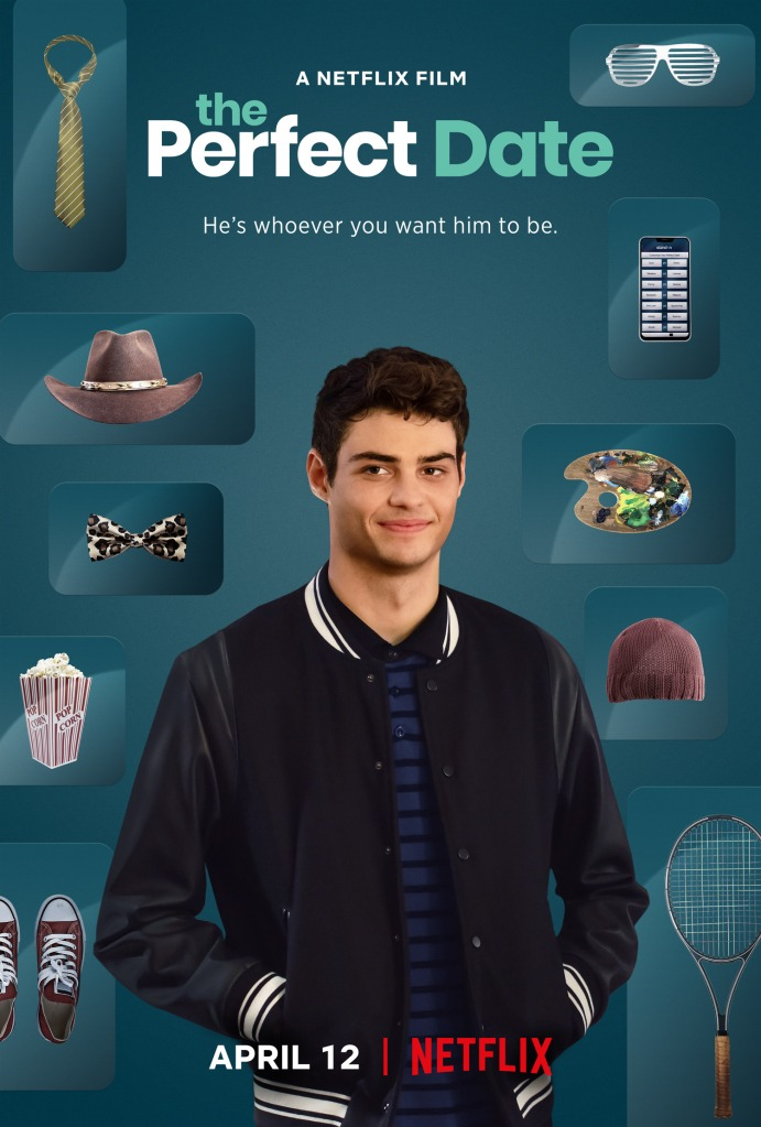The film poster showing Brooks (Noah Centineo) with various accessories behind him to choose from.