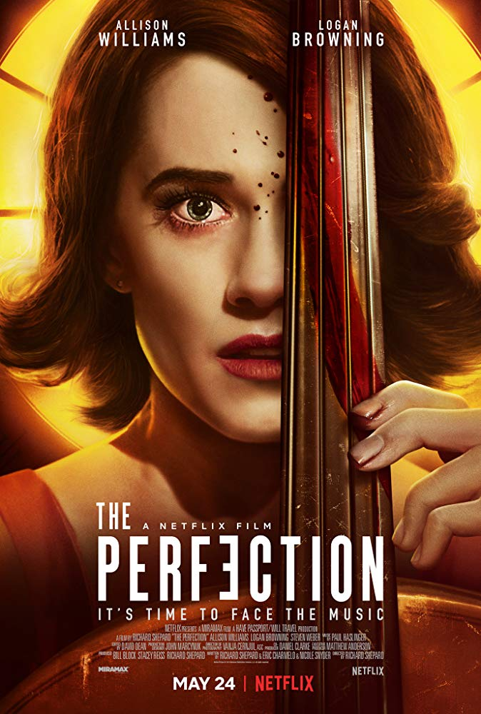 The film poster showing Charlotte (Allison Williams) playing a cello. There is blood on her face and on the cello.