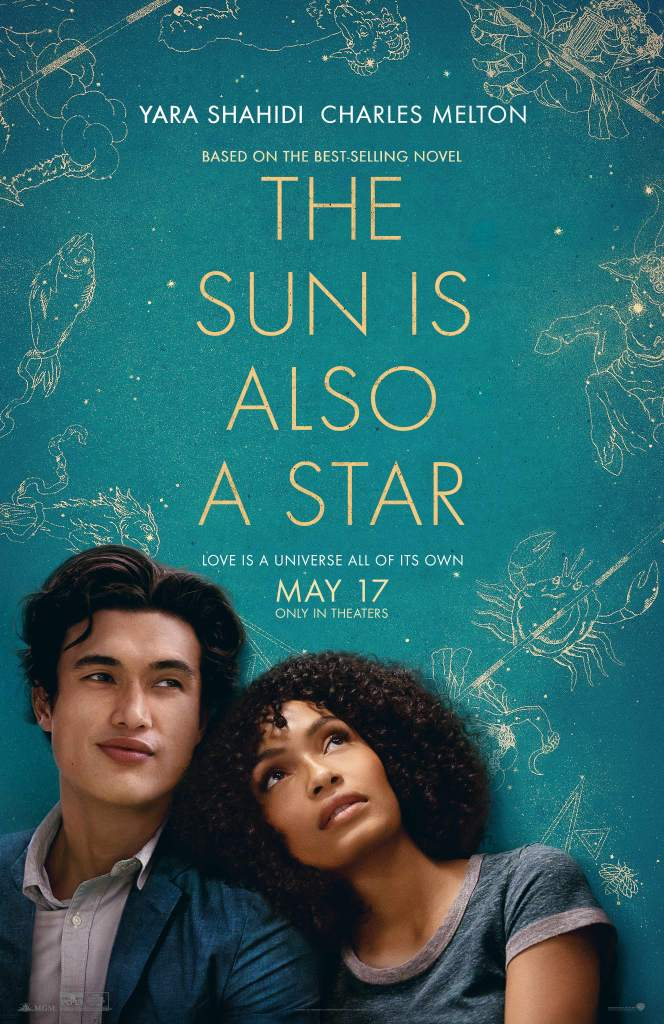 The film poster showing Natasha (Yara Shahidi) leaning against Daniel (Charles Melton). Behind them are star signs.