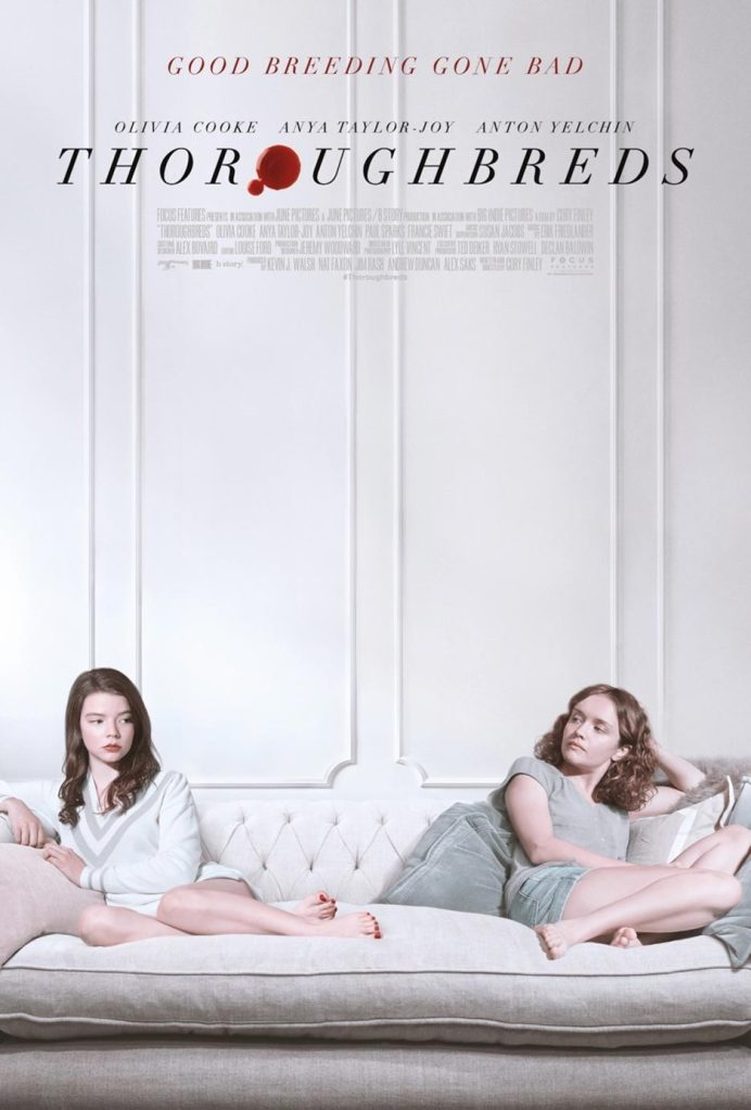 The film poster showing Lily (Anya Taylor-Joy) and Amanda (Olivia Cooke) sitting as far away from each other as possible on a white couch in a white room wearing white and gray.