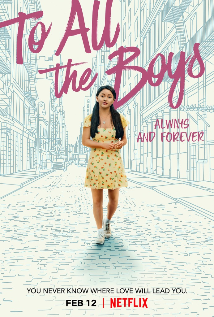 The film poster showing Lara Jean (Lana Condor) walking through a drawn New York street.