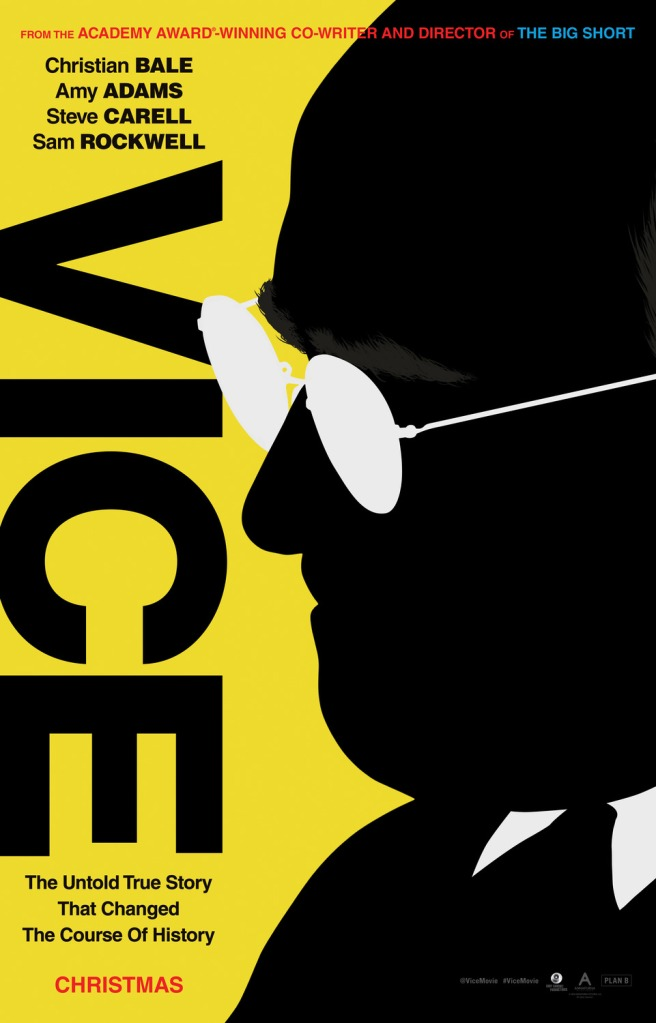 The film poster showing a stylized image of Dick Cheney (Christian Bale) in black and white on a yellow background.