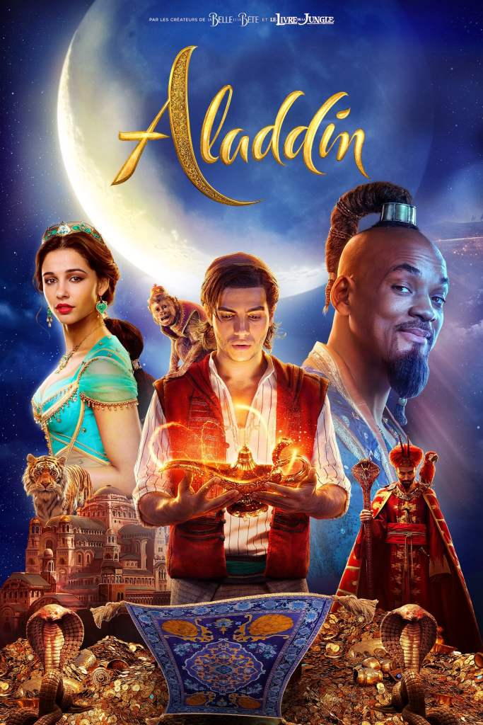 The film poster showing Alddin (Mena Massoud) holding a magic lamp in his hands, a monkey on his shoulder. Behind him are Princess Jasmine (Naomi Scott) and the Genie (Will Smith), as well as a small Jafar (Marwan Kenzari). Below him is a flying capret and treasure.