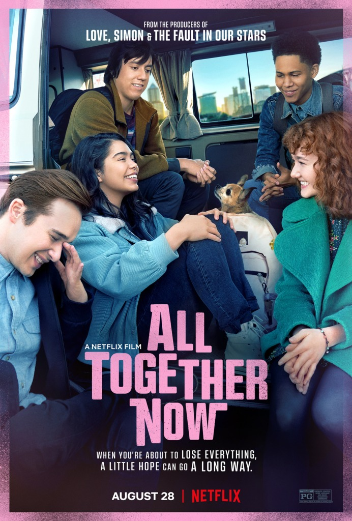 The film poster showing Amber (Auli'i Cravalho) in a van surrounded by her friends. All are laughing.