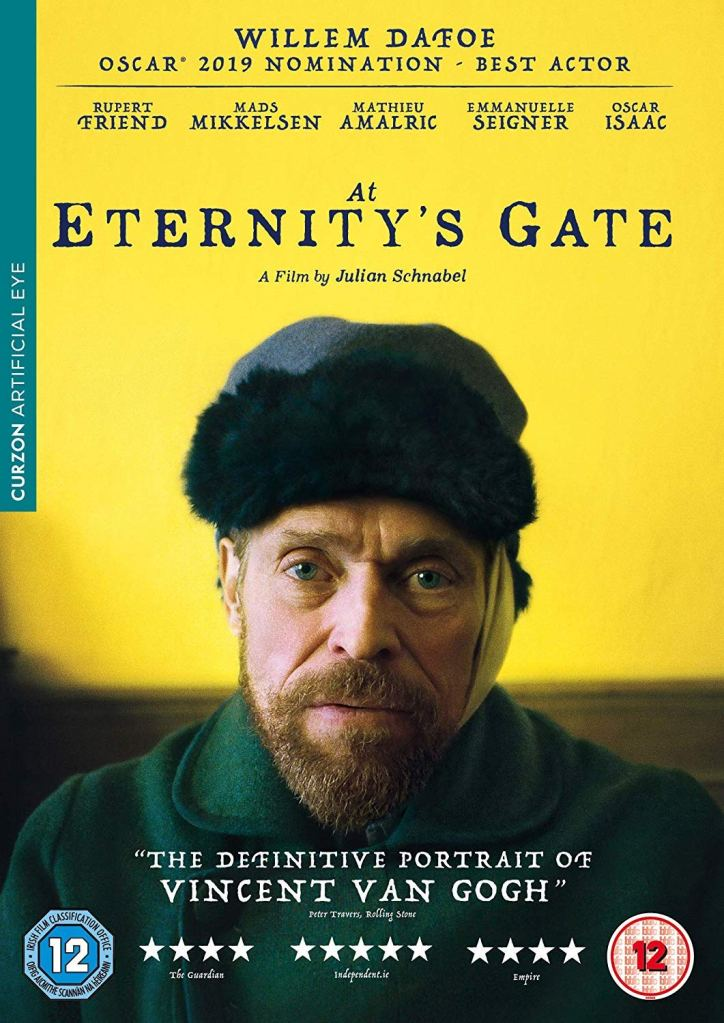 The film poster showing Vincent van Gogh (Willem Dafoe) with a bandaged ear in front of a yellow wall.