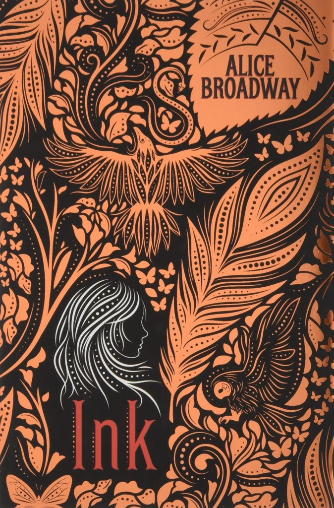 The book cover that is covered in bronze-colored tattoo-like markings, showing, among other things, an owl, an eagle, a feather and a girl in white instead of bronze.