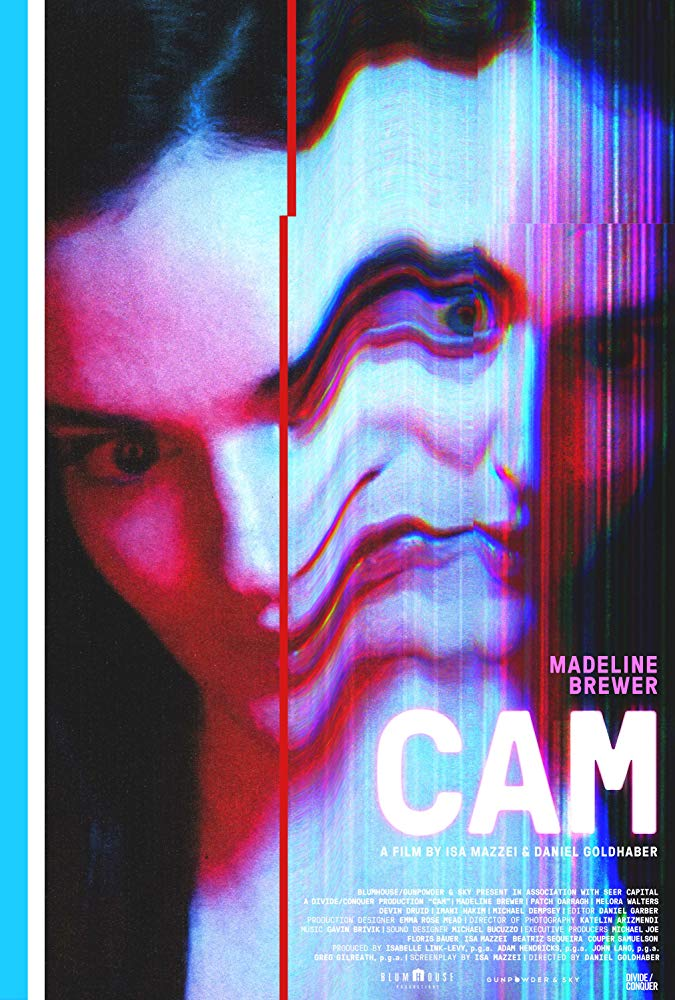 The film poster showing Alice (Madeline Brewer), one half of her face starting to doubling, distorted and glitching.