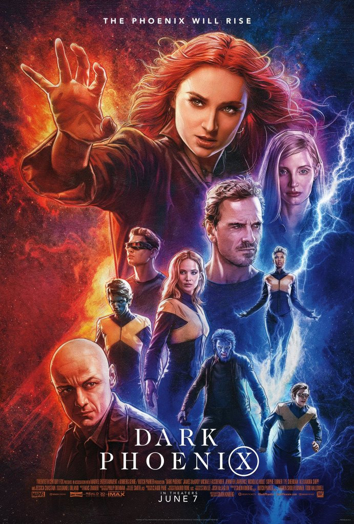The film poster showing the main characters in X-suits and power stances.