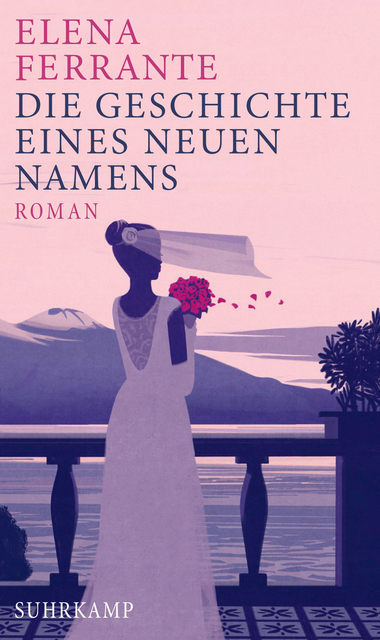 The book cover showing an illustration of a woman in a bridal gown standing on a balcony over the sea, her veil blowing in the wind together with petals from her bouquet.