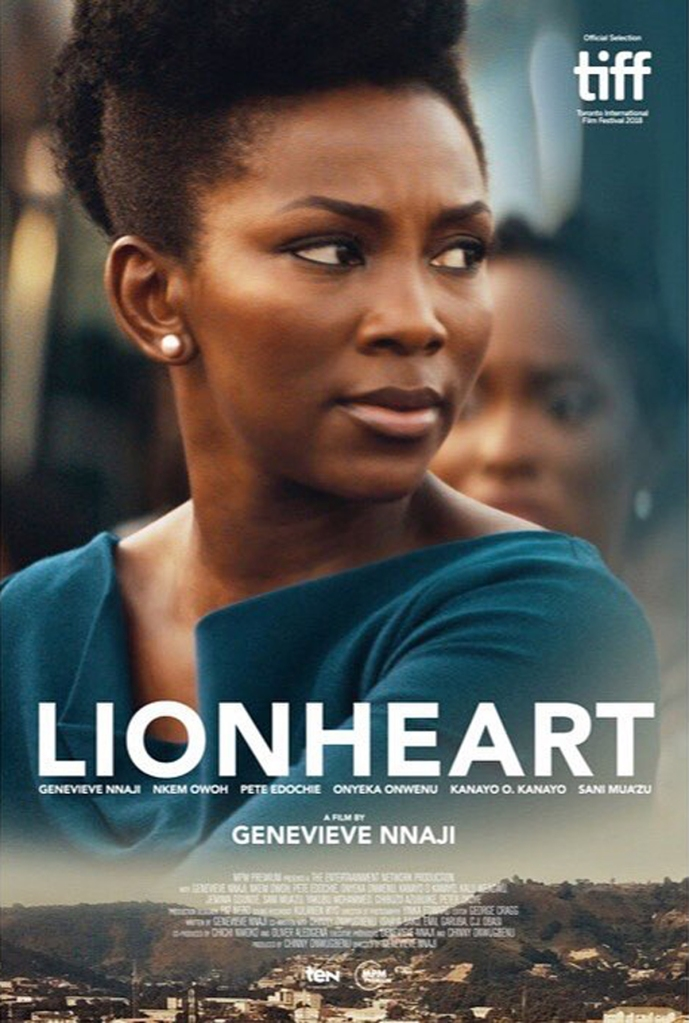 The film poster showing Adaeze (Genevieve Nnaji) with a worried expression.