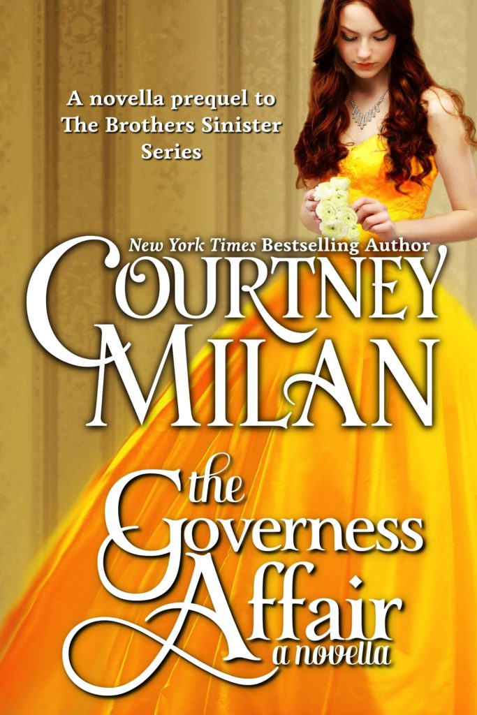 The book cover showing a woman in a yellow ball gown.