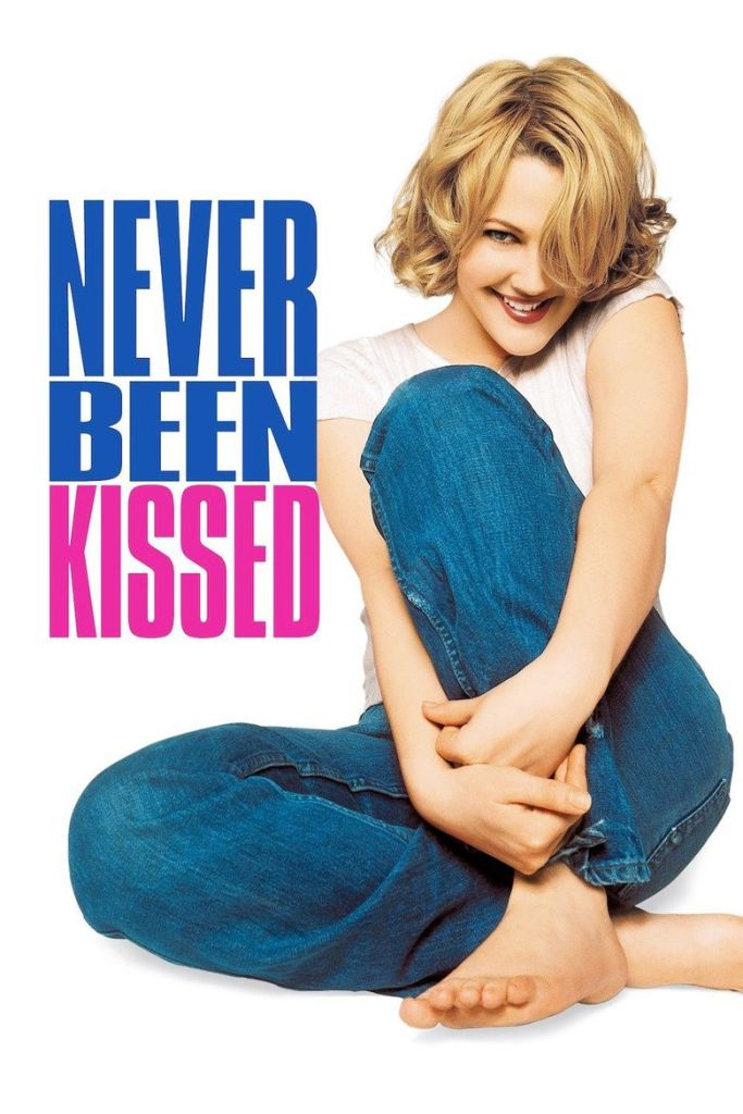 The film poster showing Josie (Drew Barrymore) sitting on the floor, one of her knees pulled to her chest.