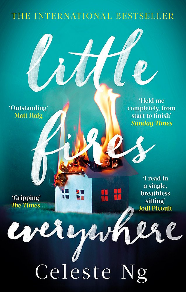 The book cover showing a little paper house on fire.
