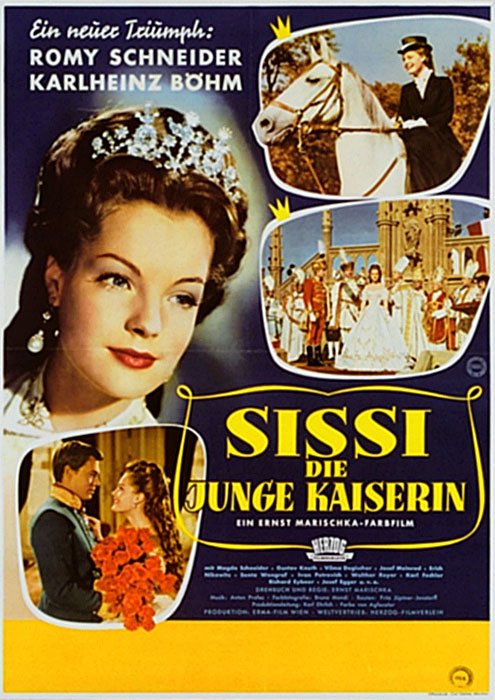 The film poster showing a close-up of Sissi (Romy Schneider) as well as smaller shots of her on a horse, in Hungary and with Franz Josef (Karlheinz Böhm).
