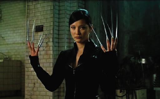 A grainy still of Kelly Hu as Lady Deathstrike in X2.