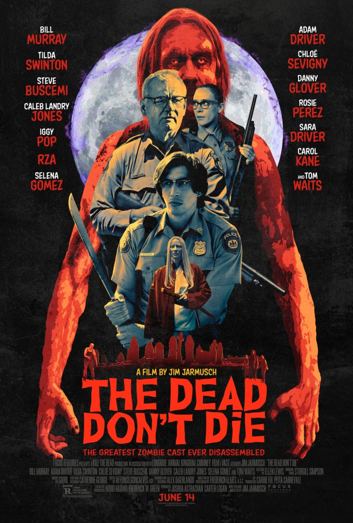 The film poster showing a full moon behind Iggy Pop as a zombie behind Mindy (Chloë Sevigny) behind Cliff (Bill Murray) behind Ronnie (Adam Driver) behind a small Zelda (Tilda Swinton).