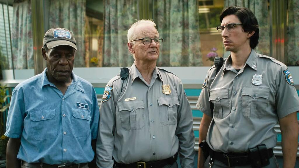 Police Officers Cliff (Bill Murray) and Ronnie (Adam Driver) with mechanic Hank (Danny Glover).