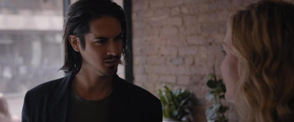 Danny (Avan Jogia) at a coffee shop with Lauren (Julia Stiles).