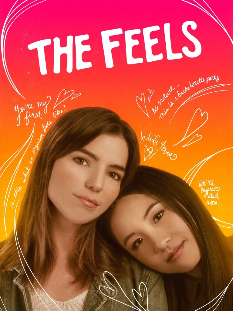 The film poster showing Andi (Constance Wu) leaning her head on Lu's (Angela Trimbur) shoulder.