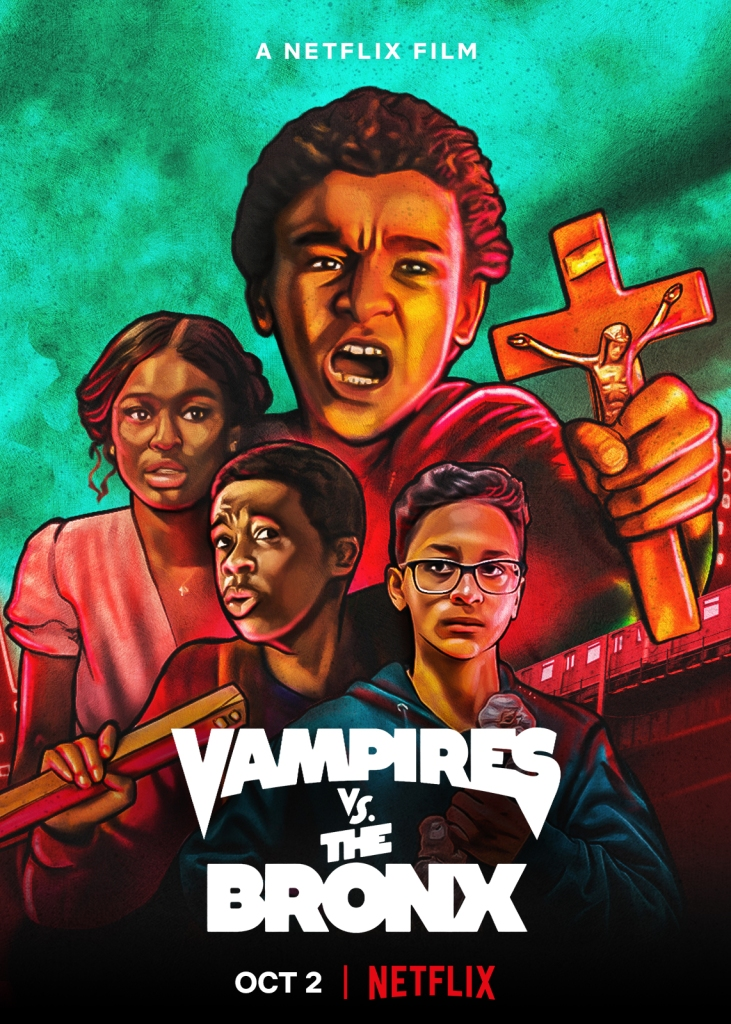 The film poster showing the four main kids as stylized images. Miguel (Jaden Michael) is at the top, clutching a cross and screaming.