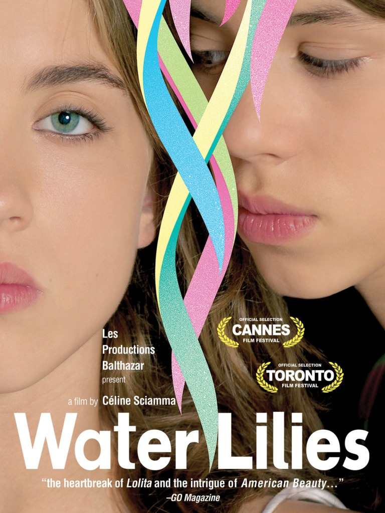 The film poster showing Marie (Pauline Acquart) and Floriane (Adèle Haenel), their faces close together. Floriane is looking straight at the camera, Marie is looking at Floriane.