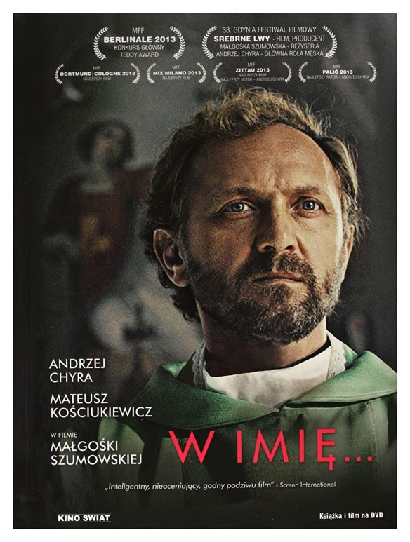 The film poster showing Adam (Andrzej Chyra) in priest's robes, a painting of a saint vaguely in the background.