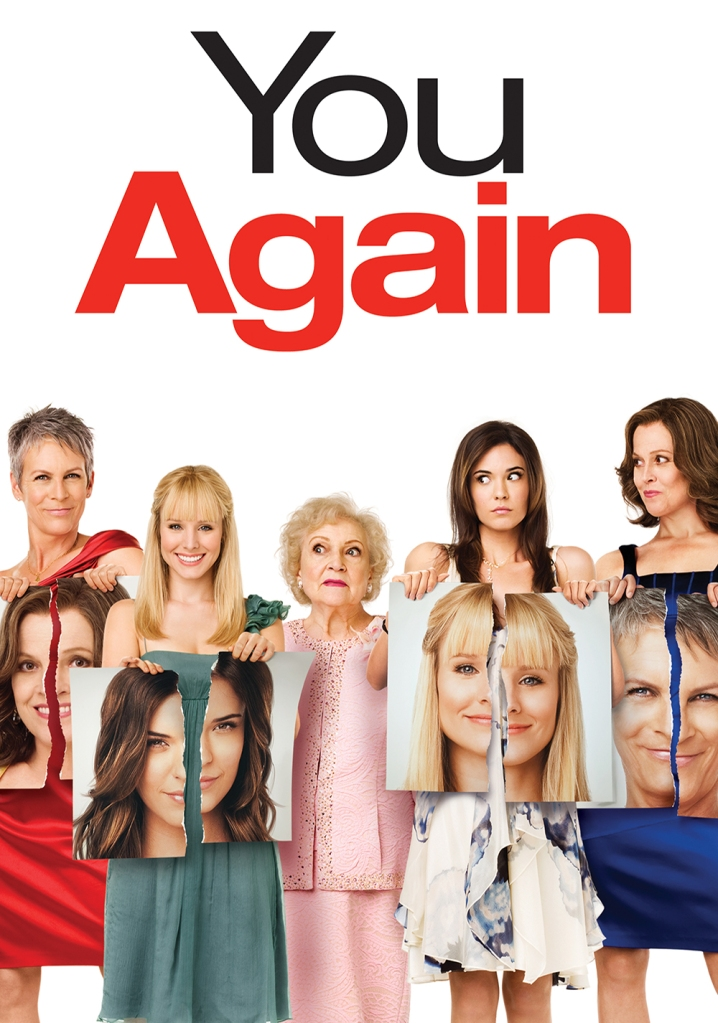 The film poster showing Gail (Jamie Lee Curtis), Marni (Kristen Bell), Ramona (Sigourney Weaver) and Joanna (Odette Annable), each holding a phote of one of the other women that is ripped apart. In the middle is Grandma Bunny (Betty White) trying to hold it all together.