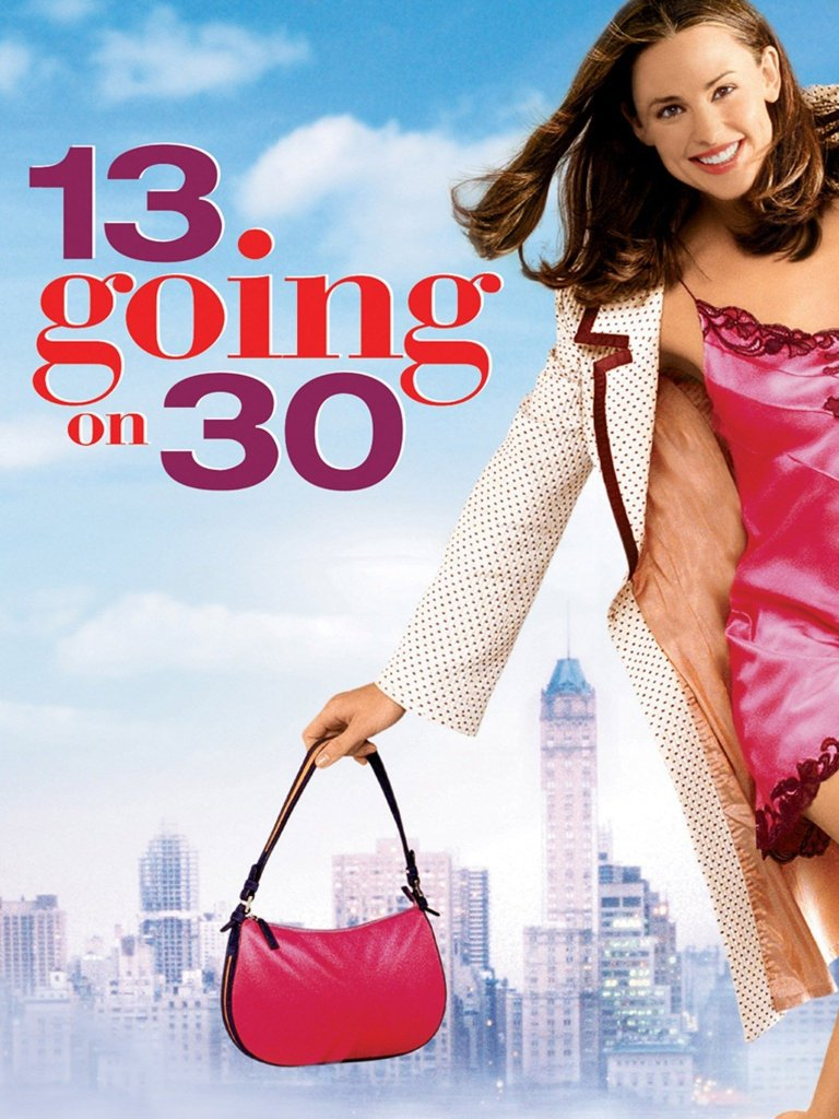 The film poster showing Jenna (Jennifer Garner) wearing a nightgown and a jacket as she walks with the skyline of New York behind her.