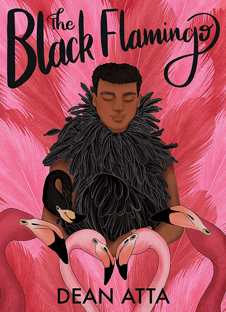 The book cover showing the drawing of a young Black man wearing black feathers, cradling a black flamingo. He is surrounded by pink feathers and four pink flamingos.