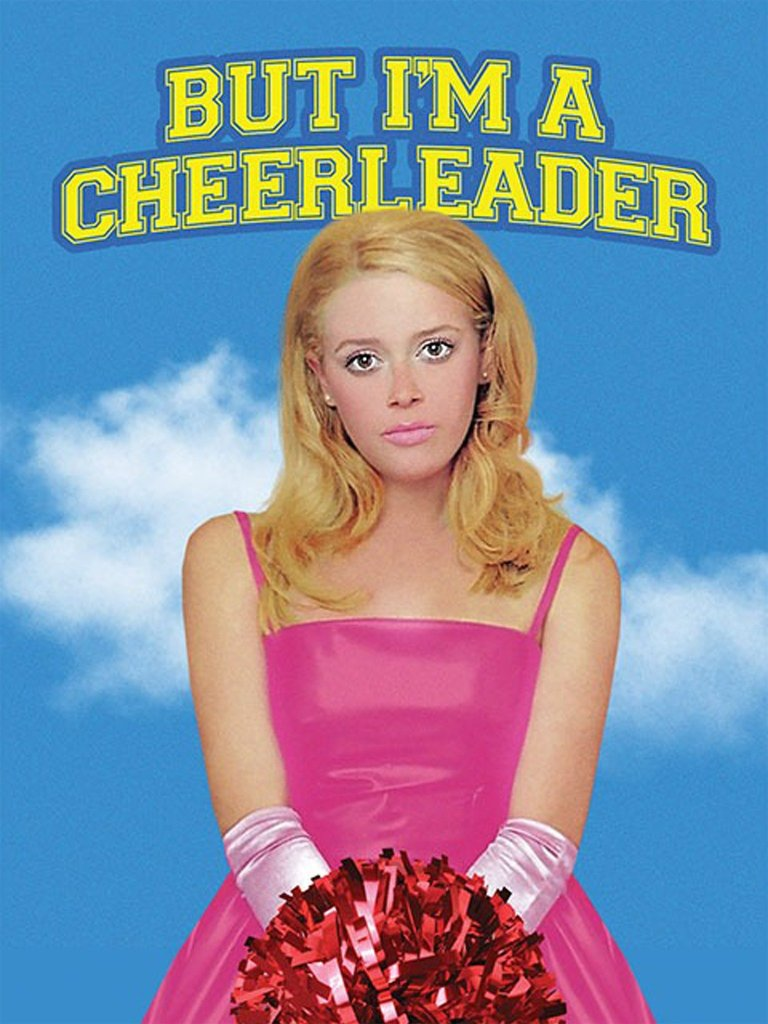 The film poster showing Megan (Natasha Lyonne) in a pink ball gown, holding a cheerleading pompom.