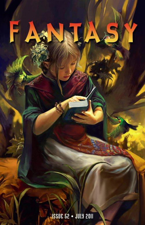 The magazine cover showing an elf reading, surrounded by birds.