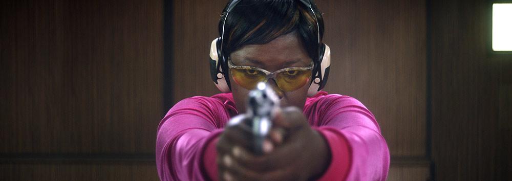 Captain Beauty Cuba (Faith Baloyi) at target practice.